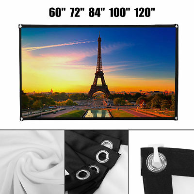 72''/84''/100''/120'' Projector Screen 16:9 Cinema Outdoor 3D Movie Projection