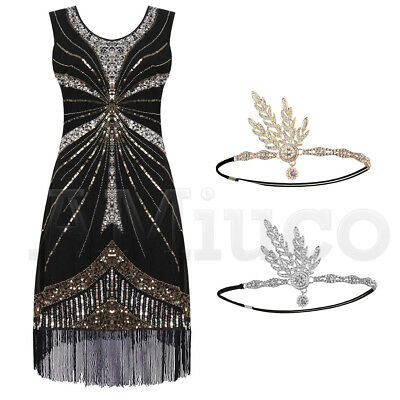 1920s Dress Flapper Great Gatsby Gown Prom Party Sequin Fringe Dresses Plus Size