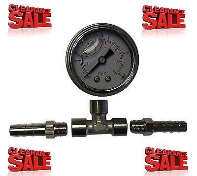Fuel Pressure Gauge Kit With Inline Adaptor & 8mm Hose Tail Connection Pump Rail