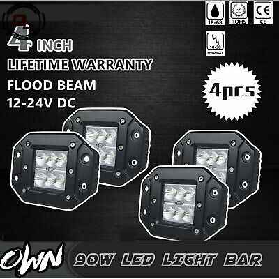 CA (4) Dually Flush Mount 18W LED Pod Lights Flood For Truck Jeep Off-Road ATV