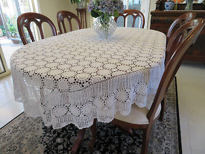 Vintage White Table Cloth Hand Crocheted Oval