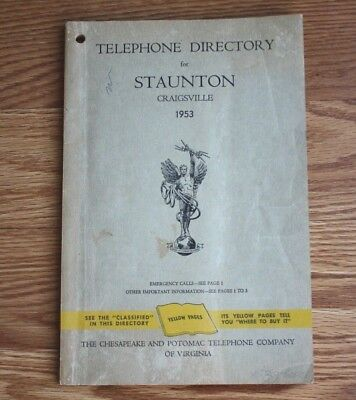 Vintage Staunton Virginia Augusta Co.1953 Telephone Directory Book Yellow Pages