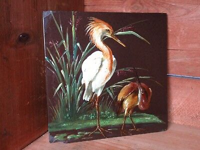 Antique Hand Painted Minton Chinaworks Aesthetic Heron Bird Tile Artist Signed