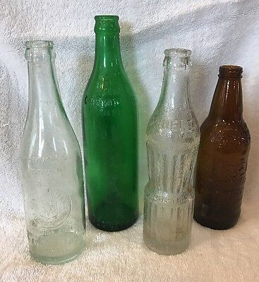 Vintage Lot Of 4 Soft Drink Beverage Bottles