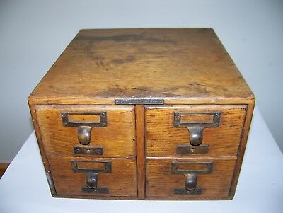 Antique Card File Catalog Cabinet 4 Drawer Oak Wood- Library Bureau Solemakers