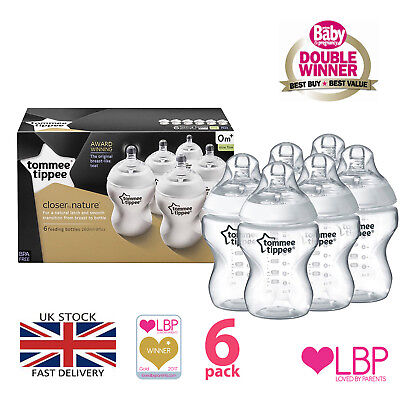 Feeding Baby Bottles, Tommee Tippee 260ml/9oz 6-Pack, Super-Sensitive Anti Colic