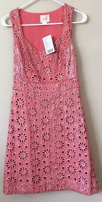 Anthropologie Dress Maeve 2 Coral Floral Embroidered Sheath Pink Orange Easter