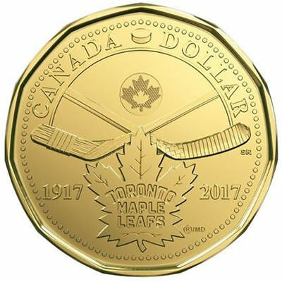 Canada  Anniversary Maple Leafs  2017 (loonie)    $1 dollar coin UNC from roll