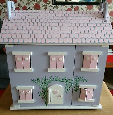 Amazing Early Learning Centre ELC Wooden Dolls House With Furniture Purple Cottage