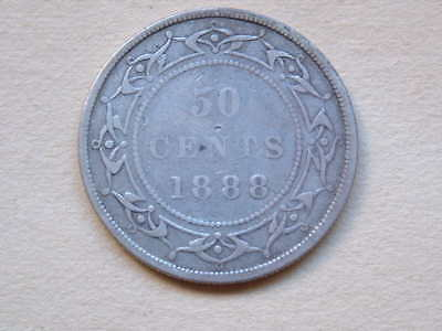 1888  Silver Newfoundland 50 Cents Nice Condition