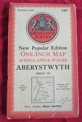 Vintage Aberystwyth Cloth Mounted Map In Full Colour 1947