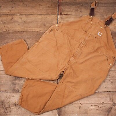 """Mens Vintage Carhartt Washed Duck Workwear Dungarees Overalls 58"""" x 30"""" R8395"""