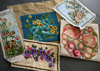 Lot of 5 Completed Vintage Tapestries Needlepoint Wool Work
