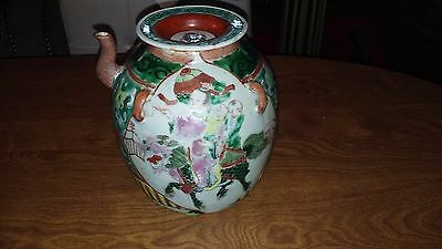 """Antique Canton Rose Medallion Teapot 4-Handled Jug W/ Lid(Lid Repaired) 7"""""""