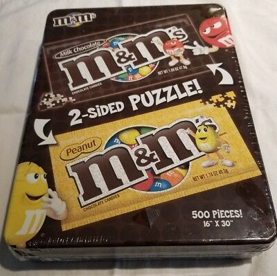 M&M / M&M's   New in Box Tin Peanut Chocolate Puzzle 500 Count Double Sided