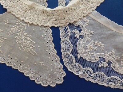 Three Victorian Collars With Hand Embroidery