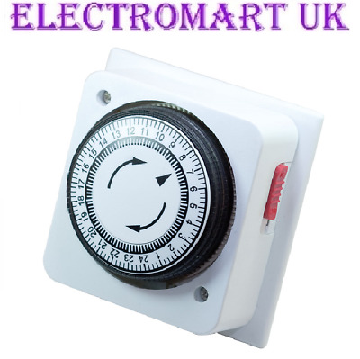 24 Hour Display Mechanical Immersion Heater Timer Time Switch 16A 4000W
