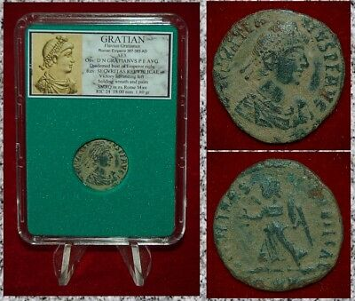 Ancient Roman Empire Coin Of GRATIAN Victory  Holding Wreath And Palm On Reverse