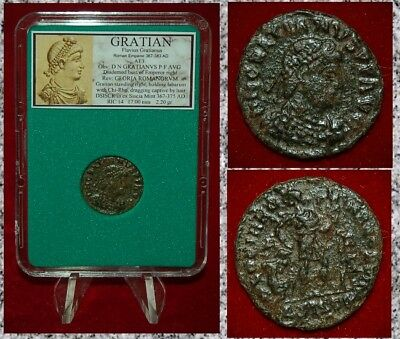 Ancient Roman Empire Coin Of GRATIAN Emperor Dragging A Captive By Hair Reverse!