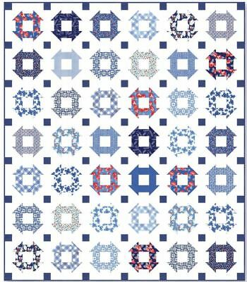 Feed Sacks: True Blue Quilt Kit with fabric by Linzee Kull McCray for Moda