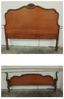 Graceful Nearly Antique 1920's Queen Anne Style Double Bed Birdseye Maple