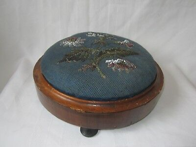 Victorian mahogany round footstool with original beadwork top and three feet