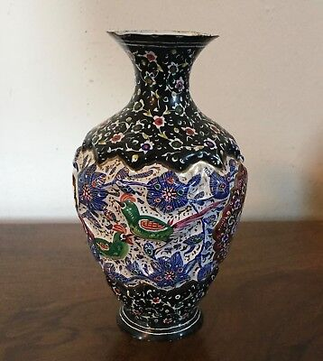 Small Antique Chinese Cloisonne Enamel Vase Late 19th c. Early 20th c. Champleve