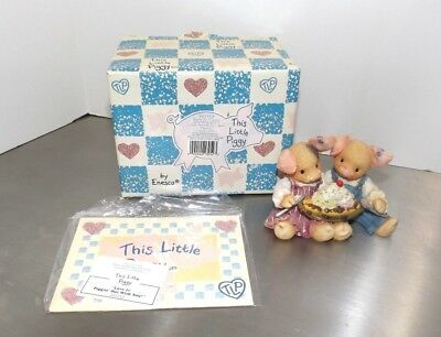 """Enesco This Little Piggy """"Love is Piggin' Out With You"""" 1996 Figurine 207772"""