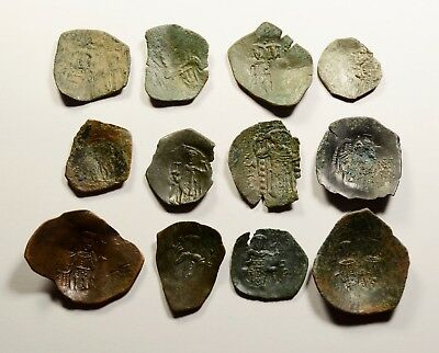 Lot Of 12 Ancient Byzantine Cup Coins For Identifying - 013