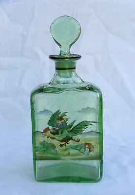 Antique Green Seeded Glass Decanter Bottle Enamel Painted Pixie On Rooster