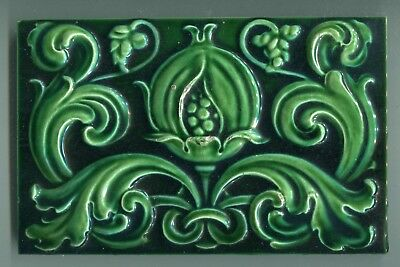 """Relief moulded 9""""x6"""" tile by Maw & Co, for London Underground c1906"""