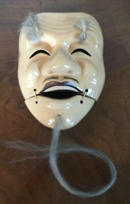 Old Japanese Kabuki Mask Lacquer with Hair