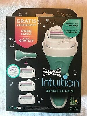 Wilkinson Intuition Sensitive Care Set, Rasierer + 3 Klingen, NEU & OVP