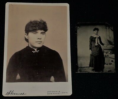 Vintage Pair of 1800's Photos /Same Woman on Cabinet Card & 1/6th Plate TinType