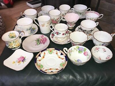 Mixed Lot Vintage Tea Cups, Saucers Bone China 24 Pieces England, Germany