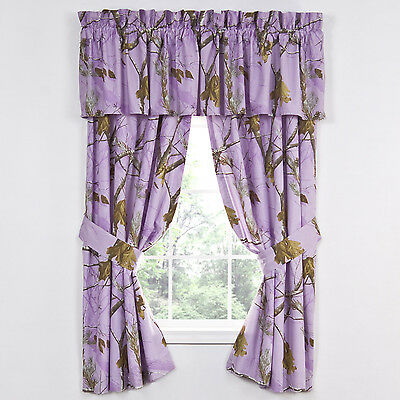 Realtree Ap Lavender Camouflage Window Curtains - Purple Camo Drapes