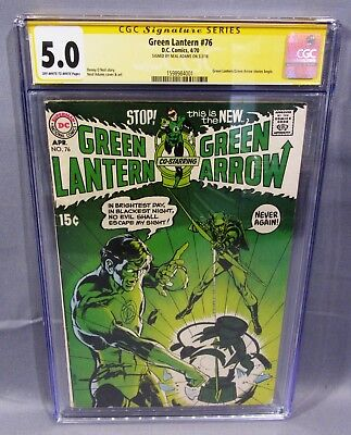 GREEN LANTERN #76 (Neal Adams signed, 1st Green Arrow Team-Up) CGC 5.0 DC 1970