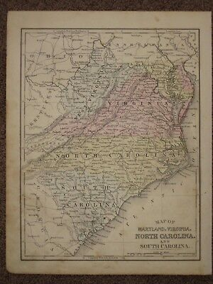 1872 NORTH SOUTH CAROLINA VIRGINIA ANTIQUE MAP Mitchell Atlas HAND COLORED