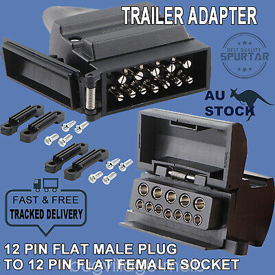 12 Pin Flat Trailer Socket Plug Set Connector Male & Female Caravan Camper 4WD