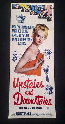 1959UPSTAIRS AND DOWNSTAIRS Original US Insert Movie Poster  Sidney James