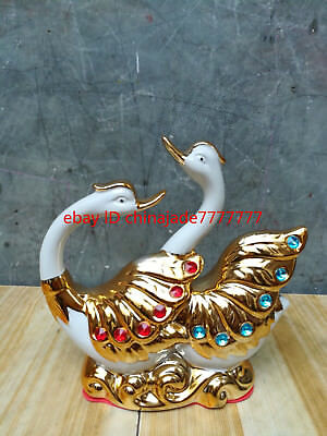 Decoration decoration ceramic wedding gift gold-plated Swan