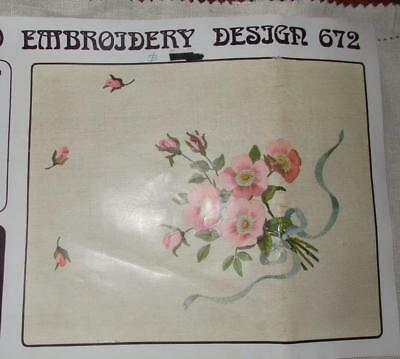 "UNWORKED SEMCO DOILY to EMBROIDER~"" ROSES,BUDS,RIBBON,LEAVES "" DESIGN #672~"