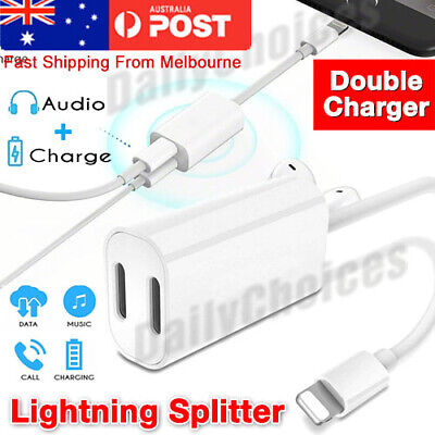 For iPhone 7 8 X Dual 2 Lightning Audio Headphone Adapter Charger Splitter AU