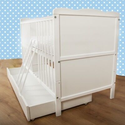 NEW WHITE 2in1 COT-BED WITH DRAWER 140x70  - RRP 139,00 GBP