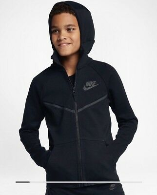 NWT NIKE TECH FLEECE FULL ZIP LITTLE KIDS BOYS HOODIE 86B202 023 SZ 6 MED Black