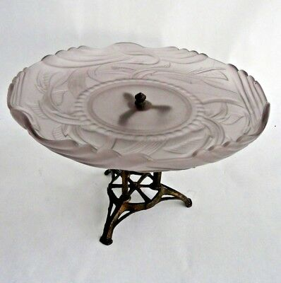 Exceptional Art Deco era frosted pink glass pedestal dish cast metal stand 1930s