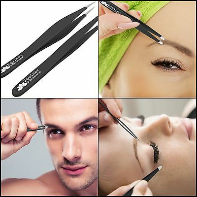 2 PCS Eyelash Extension Tweezers A Straight & Strong Curved Stainless Steel Set