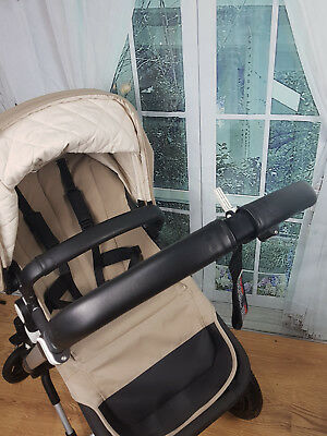 Real Leather Black Bugaboo Cameleon 3 set handle and bumper bar cover set