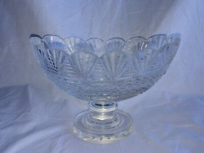 Irish Crystal Glass Oblong, Boat Shaped Footed Bowl or Compote, Possibly Antique