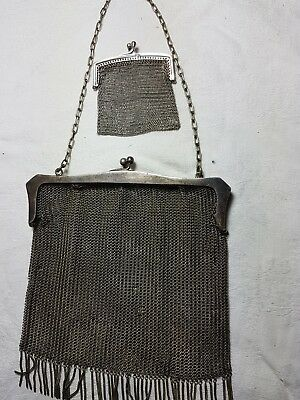 antique 1920 hm silver chain mail mesh purse and alpacca silver 161 evening bag